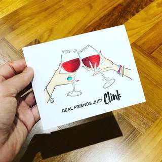 Handmade card - Real Friends Just Clink
