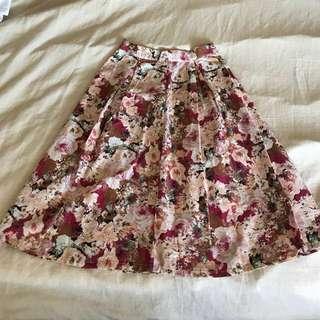Hemp and Cotton Floral Skirt