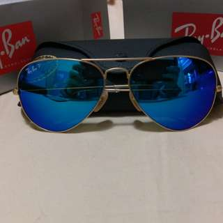 Ray Ban aviator flash lenses polarized rb3025 112/4p 58mm size rayban