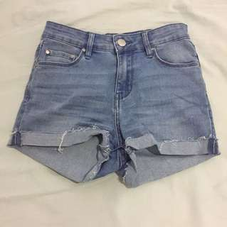 Custom made high waisted denim shorts