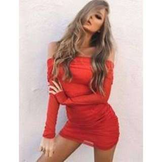 New I AM GIA red off shoulder dress