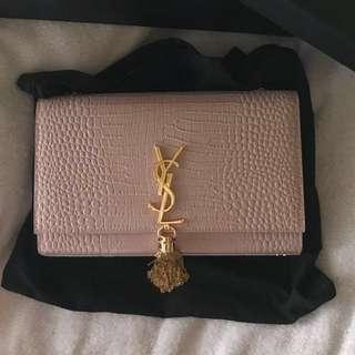 YSL Croc Embossed Tassel Bag
