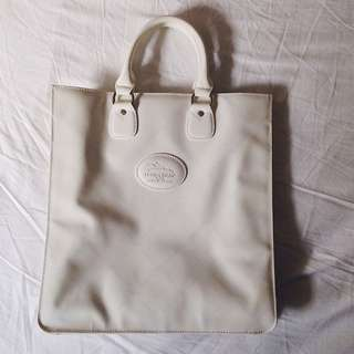 Longchamp White Patent Leather Tote Bag