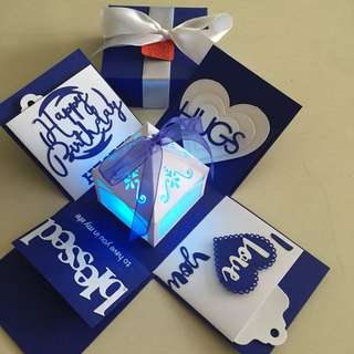 Explosion Box With Lighthouse & 4 Personalized Photos in Navy & white