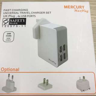 Fast charging universal travel charger set