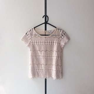 Forever new nude pink crochet top