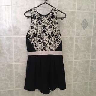 Finders Keepers Black and White Playsuit