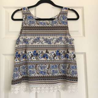 Paper Scissors Printed Lace Top