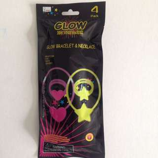 GLOW IN THE DARK BRACELET AND NECKLACE 4 PACK