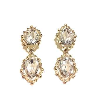 Gold metal and Crystal earrings