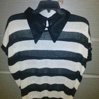 Collar Stripe Top#diskonloh