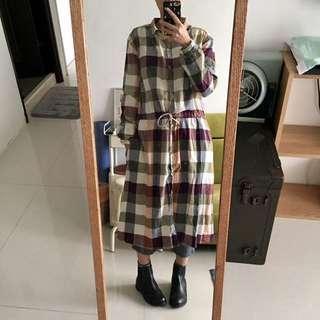 經典格子襯衫兩穿式洋裝