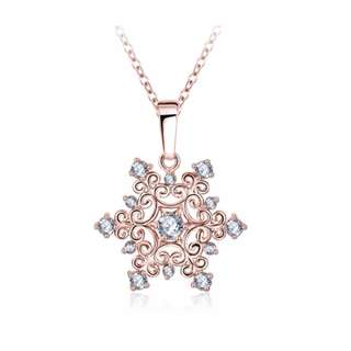 Rose Gold Plated Snowflake Necklace (Austrian Crystal)