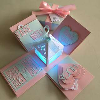 Farewell explosion Box With 4 Personalized Photos in pink & blue