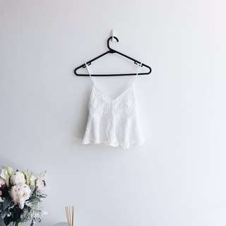Topshop cream white crochet tank top