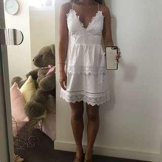 Bardot white lace dress