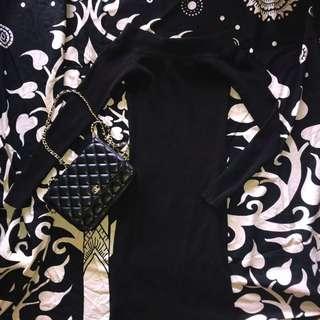 XS off the shoulder black dress