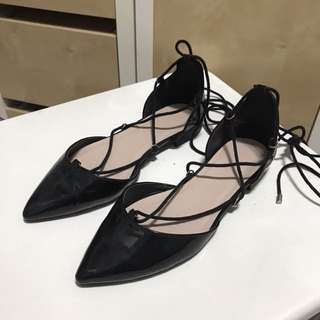 ASOS laced up black pointed flats