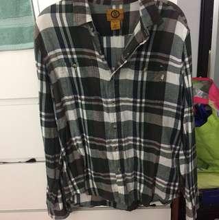Thrifted oversized plaid shirt