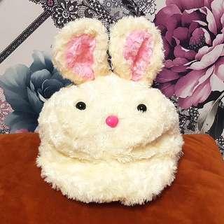 可愛小白兔耳朵內刷毛保暖帽