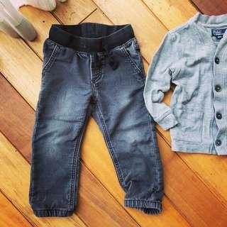 BabyGap 黑色刷白舒適款牛仔褲 伸縮腰款 (2Y)