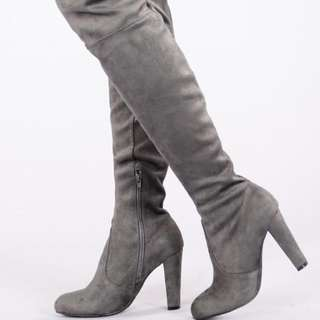 BNIB Thigh high boots-Charcoal (Size 6)