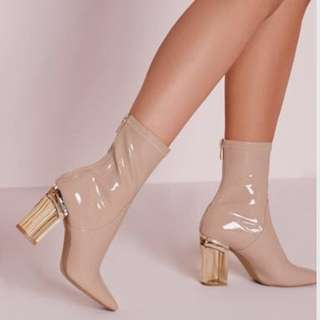 Nude Patent Ankle Heel Boots