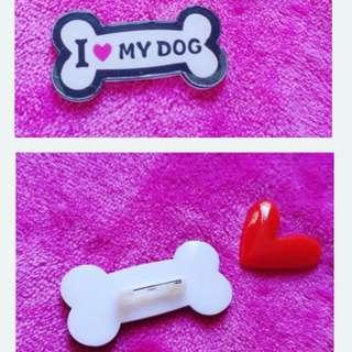 全新包郵 骨頭形 I love my dog 扣針 心口針 pin