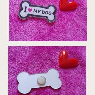 全新包郵 骨頭形 I love my dog 磁石貼 白板貼 磁貼