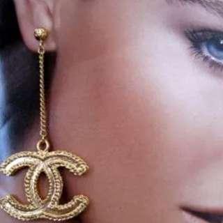 Chanel Cc Chain Drop Earrings New