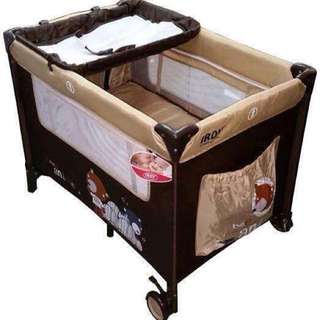 (Price Drop‼️) IRDY - Portable Space Saver Crib Playpen w/ Diaper Changer & Mosquito Net