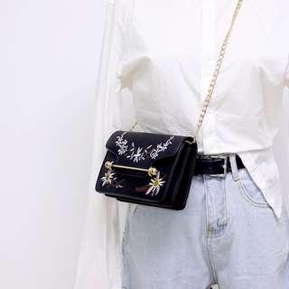 黑色繡花手袋