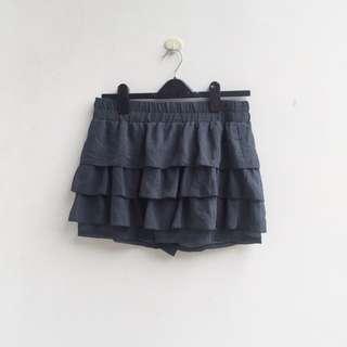 [PRELOVED] dark grey ruffle pants skirt