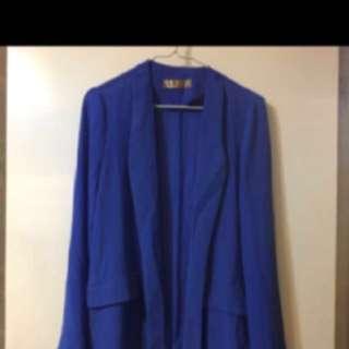 韓國風藍色雪紡外套