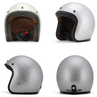 Silver Glitter Motorcycle Helmet Open Face Three Button Snap Retro Vintage Vespa Scooter Cafe Racer Motorbike Leather Gloss Old School Harley Davidson