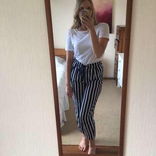 Zara stripy paper bag pants