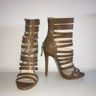 Brown Strappy Heels - Basement Size 36
