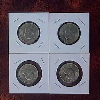 55年總統八秩華誕壹圓紀念幣4枚