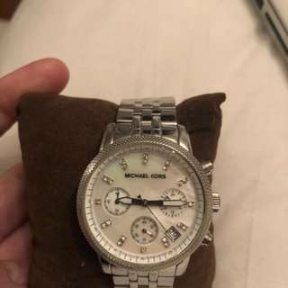 Michael Kors silver with pearl face