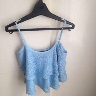 Blue Lacey crop top