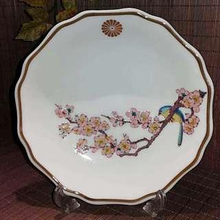九谷皇室標記喜上眉梢花邊手工中盤