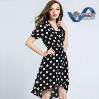 Polka Dots Wrap Style Dress