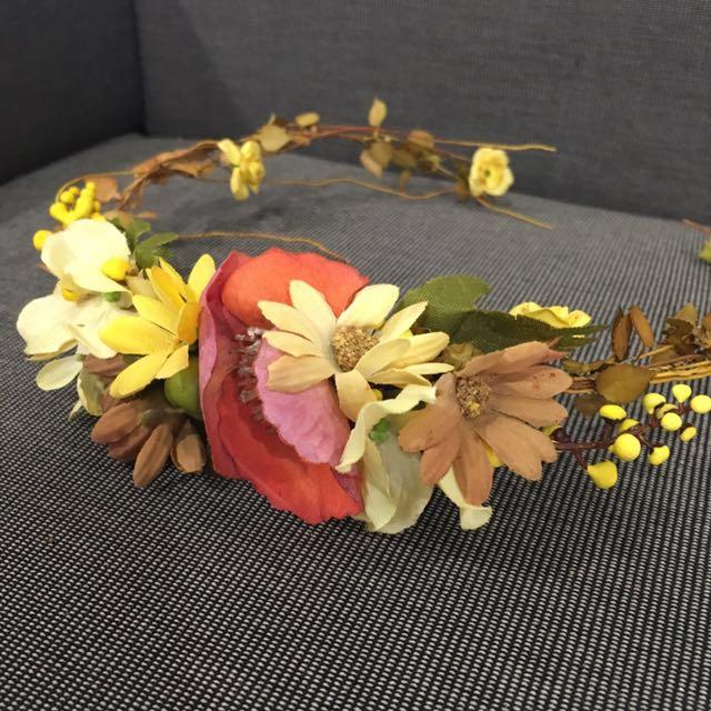 新娘飾品(人造花圈,1大1小)