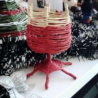 手織 擺設 杯 聖誕擺設 獨一無二 紅 Christmas