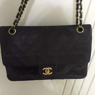 Authentic Vintage Black Chanel Classic flap bag