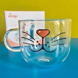 貓臉玻璃杯/聖誕禮物/交換禮物