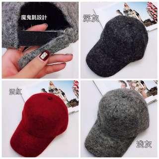 新款-秋冬季節限定素色棒球帽