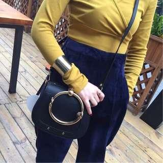 楊冪同款Chloe克洛伊nile圓環馬鞍包 甜美可愛簡約精緻手提包 單肩包 斜挎包 側背包 時尚休閒女包
