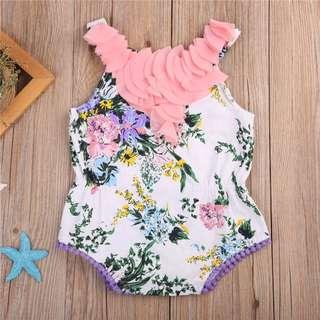 🐰Instock - pink ruffle romper, baby infant toddler girl children glad cute