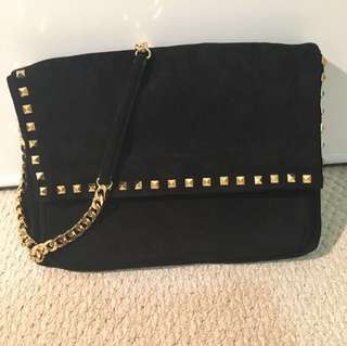 Zara black suede shoulder bag